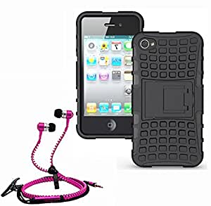 Hard Dual Tough Military Grade Defender Series Bumper back case with Flip Kick Stand for Iphone 4G + Stylish zipper hand free for all smart phones by Carla Store