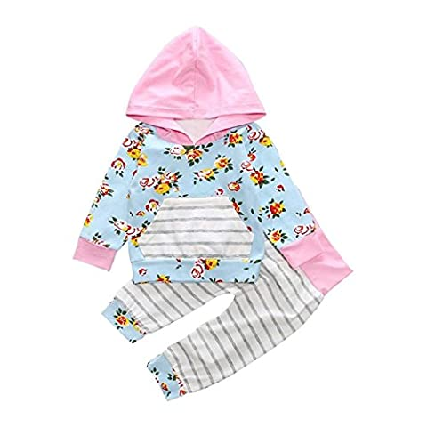 Fulltime(TM) 2PCS Kids Baby Girl Floral Hoodie Tops Sweatshirt Pants Outfits Clothes Sets (12 months)