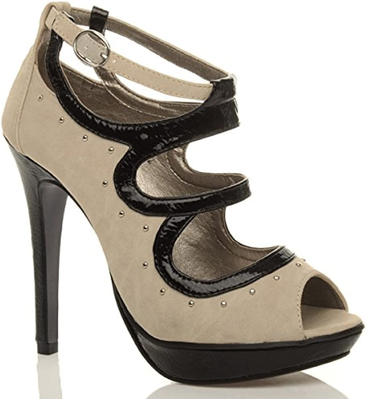 1688909ec711 Ajvani Womens Ladies high Heel Heel Heel Platform Caged Gladiator Studded Buckle  Cut Out Sandals Party Court Shoes Size B011UTYE5G Parent fb6732