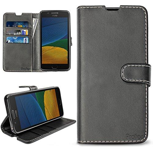 Motorola Moto G5 Plus Hülle, Profer [Premium Leder Serie] Schutzhülle PU Leder Flip Tasche Case mit Integrierten Kartensteckplätzen und Ständer für Motorola Moto G5 Plus (Leder-Schwarz)