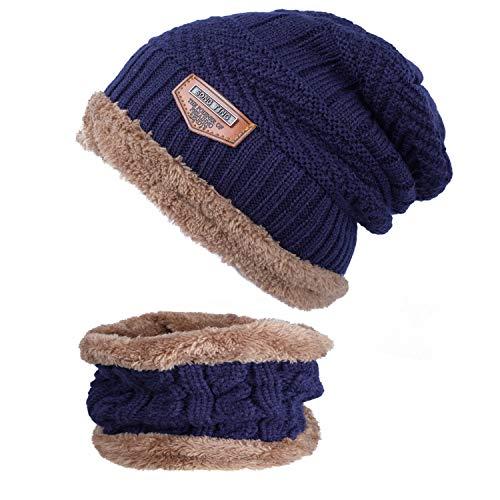 ANVEY Unisex Winter Dick Beanie Hut Schal Set Slouchy Warm Schnee Knit Cap Blau - Blaue Ski-knit Beanie Cap