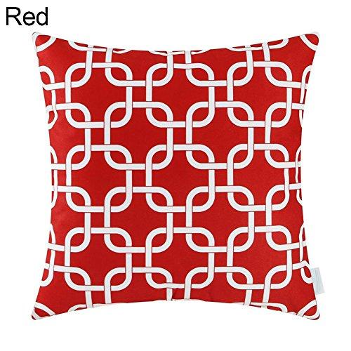 quanjucheer 1–18/20cm Geometrische Kissenhülle Sofa-Kissenbezug, quadratisch, Leinen, rot, 45 x 45 cm (King-size-decke-messungen)