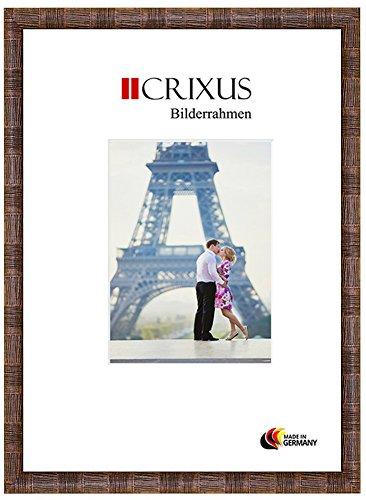 Crixus38 Echtholz Bilderrahmen für 11 x 14 cm Bilder, Farbe: Nuss Braun Relief, Massivholz Rahmen in Maßanfertigung mit Acryl Kunstglas (Bruchsicher) und MDF Rückwand, Rahmen Breite: 38 mm, Aussenmaß: 17,9 x 20,9 cm