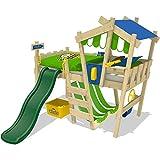 WICKEY Kinderbett CrAzY Hutty Hochbett Abenteuerbett inkl. Lattenboden - Blau-Apfelgrün + grüne Rutsche