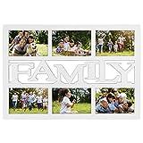 Hama Collage Bilderrahmen für Fotocollagen Budapest - Family (Fotorahmen mit Family-Schriftzug für 6 Fotos im Format 10 x 15, Kunststoff-Rahmen, Echtglas, Fotogalerie) weiß