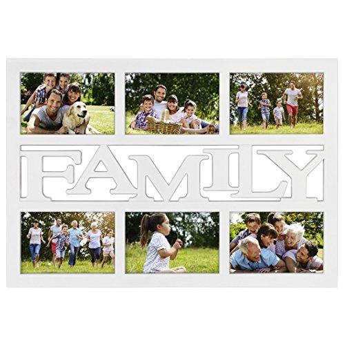 fotorahmen family Hama Collage Bilderrahmen für Fotocollagen Budapest - Family (Fotorahmen mit Family-Schriftzug für 6 Fotos im Format 10 x 15, Kunststoff-Rahmen, Echtglas, Fotogalerie) weiß