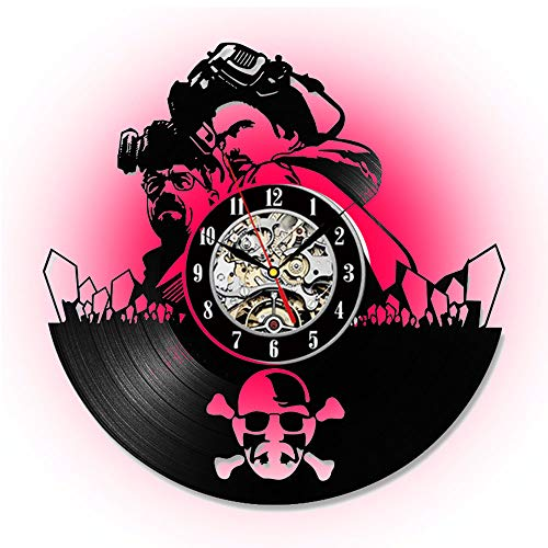 XINYIN Color LED Vinyl Quartz Wanduhr, Time and Space Broken Movie Clock, Retro Creative Art Deco Gift, Durchmesser 30cm (12 Zoll)