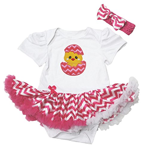 te Bodysuit Hot Pink Chevron Pettiskirt Baby Dress Nb-12m (3-6 Monat) ()