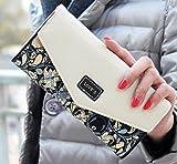 Women Leather Wallet Envelope Purse Card Holder Mobile Bag Long Zip Handbag Black