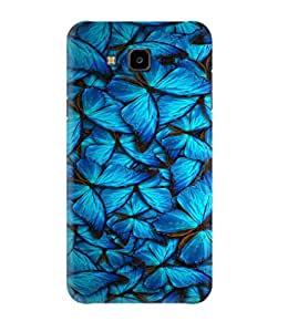 Samsung Galaxy J7 (2015 Model) Back Cover Designer 3d printed Hard Case Cover for Samsung J7 by Gismo - Art butterfly blue theme