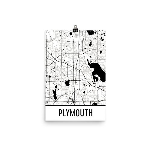 Modern Map Art Plymouth Druck, Plymouth Art, Plymouth Karte 12