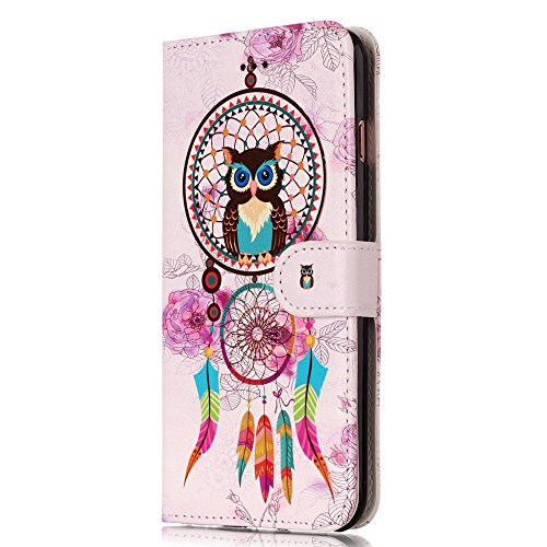 "MOONCASE iPhone 6/iPhone 6s Coque, [Colorful Relief Pattern] Anti-choc Full-body Protection Housse avec Card Holder en Cuir Etui Case pour iPhone 6/iPhone 6s 4.7"" Owl Chimes"
