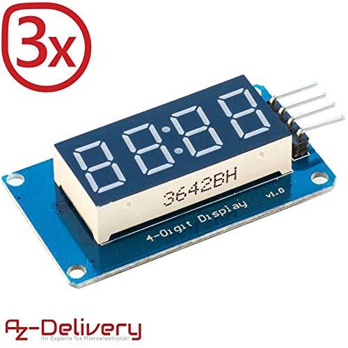 AZDelivery ⭐⭐⭐⭐⭐ 3 x 4 Bit Digital Tube LED Display Modul I2C mit Clock Display für Arduino und Raspberry Pi (3 Stück) mit gratis eBook! - Digitale Anzeige-controller