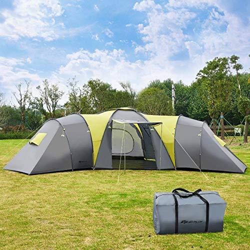 Outdoor-Zelt 9 Personen Familientunnelzelt mit 3 Schlafzimmern & amp; 1 großes Wohnzimmer, Sonnendach, wasserdichtes Campingzelt mit Tragetasche, 205 cm maximale Höhe für Outdoor-Rucksacktouren, Wande