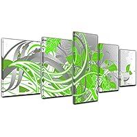 Kunstdruck   Abstrakte Kunst 55b   Grün   200x80 Cm   5teilig   Bild Auf  Leinwand