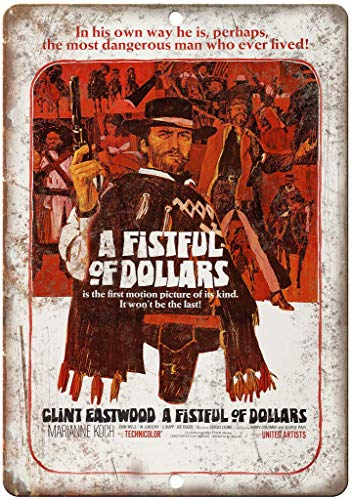 Mr.sign A Fistful of Dollars Clint Eastwood Blechschilder Retro Schilder Blech Blechschild Vintage Metall Poster Warnschild Wanddekoration Malerei Bar Cafe Restaurant Garten Park 20 * 30 cm