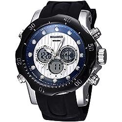 BOAMIGO Luminous Alarm Week 50M Waterproof Quartz Digital Mens Watch (Black White)