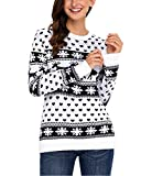 Femme Fille Noël Pulls Chemise En Tricot Noël Imprimé Col Rond Manches Longues Impression Floral Pull-over Tee-shirt Blouse Christmas Casual Automne-Hiver Tops YOSICIL