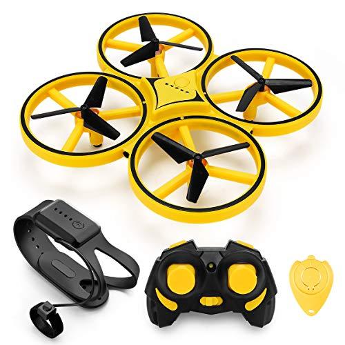 INKPOT JJRC JJPRO RC Mini Drohne Handsteuerung Infrarot Induktion Quadrocopter mit 2 Batterien Höhe halten Kopfloser Modus LED Lichter Spielzeug für Kinder Geschenk (gelb)