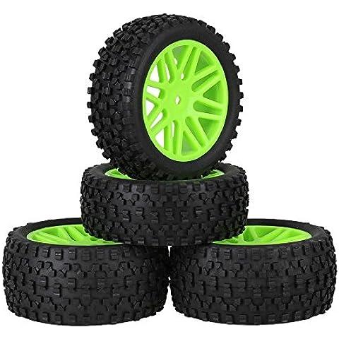 Youzone Plástico Verde 16 Spoke neumáticos de las ruedas Llantas + H Negro Tipo de neumáticos de caucho para RC 1:10 Off Road Buggy de coches piezas de repuesto (paquete de