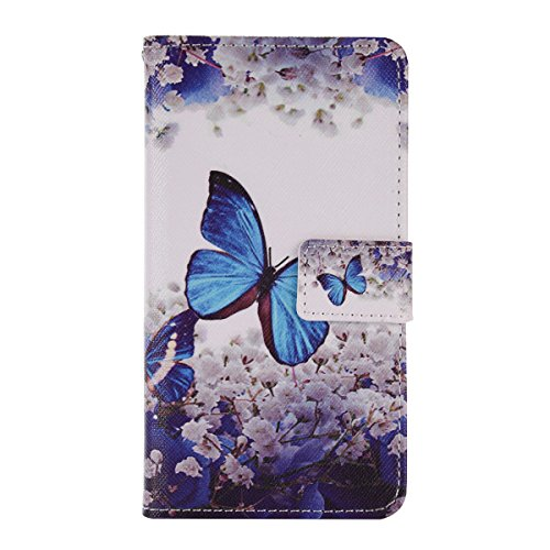 iPhone SE Hülle, Asnlove Bunt Buntstift Wallet Lederhülle Bookstyle Handyhülle Zubehör Brieftasche Kartenfach Tasche Case Cover Magnetisch Schließung gebaut Standfunktion Premium Flip PU-Leder Schutz  Blumenblumen -blauer Schmetterling