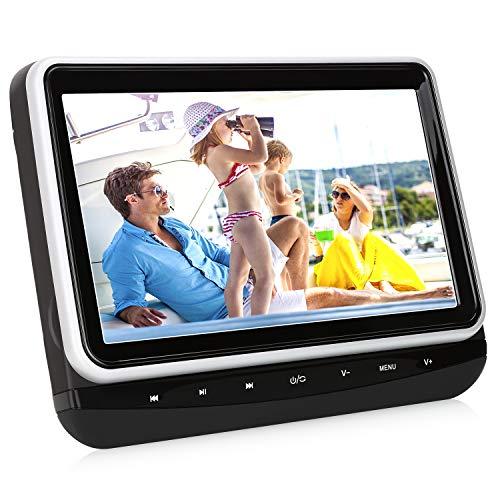 10,1 Zoll DVD Player Auto HD Kopfstütze Monitor Fernseher mit KFZ Kopfstützenhalterung unterstützt SD USB AV IN und Out für Kinder zu Urlaub Schwarz NAVISKAUTO MTK1026