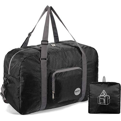 WANDF Faltbare Reisetasche Leichter Sporttasche mit Schulterriemen und Schuhfach für Reisen Sport Gym Urlaub 10 Farbewahl (Schwarz, 50L)