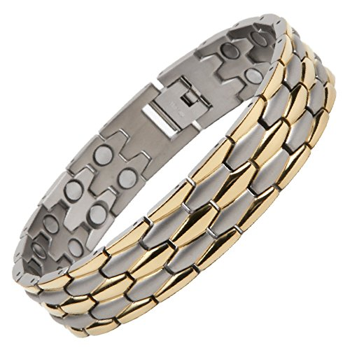 North South T40silber und gold Titanium zweireihig Magnetverschluss Armband mit GRATIS Luxus Geschenkbox und Demontagewerkzeug