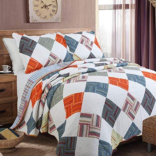 Washed Cotton Soft Coverlet Bettbezug 3 teiliges Set Plaid Pattern Lightweight Wendebettwäscheset All Season Quilts 230 * 250cm -