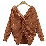 Vertvie Damen Pullover V Ausschnitt Lose mit Langarm Sexy Pullover Asymmetrische Knoten Strickpulli(S, Kaffee)