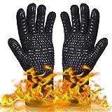 Qcool Grillhandschuhe, Ofenhandschuhe BBQ Grillhandschuh Handschuhe Kaminhandschuhe bis zu 500/800°C 1 Paar Zum Grillen,Kochen,Schweißen (Schwarz)