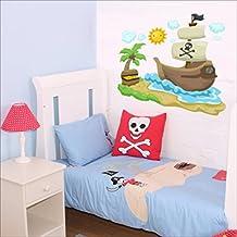 Bateau pirate, soleil, nuages, Palm Sticker mural Sticker mural Nursery Stickers muraux pour enfant Multicolore Art 203