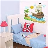 Bateau pirate, soleil, nuages, Palm Sticker mural Sticker mural Nursery Stickers muraux pour enfant Multicolore Art 203...