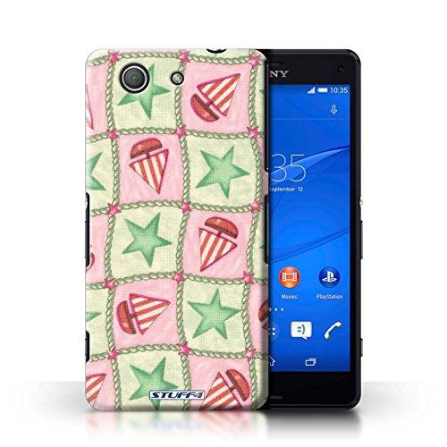 Kobalt® Imprimé Etui / Coque pour Sony Xperia Z3 Compact / Brun/Bleu conception / Série Bateaux étoiles Vert/Rouge