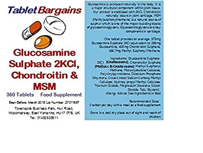 Tablet Bargains - Glucosamine, Chondroitin & MSM - 360 Tablets