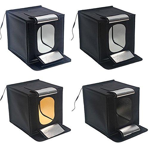 """HWAMART® (16"""") 40x40cm LED 16 """"mini plegable Estudio mesa de luz 50W Caja de luz Foto Kit de Iluminación LED + Cuatro Fondos tienda Photo Studio Light Cube"""