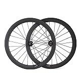 VCYCLE 700C Carbon Rennrad Laufradsatz 50mm Drahtreifen Scheibenbremse Breite 23mm kann Schnellverschluss oder Achsdurchführung Passen UD Matt (VORDERSEITE15*100mmRückseite12*142mm)
