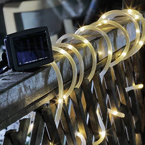 Kamaca LED SOLAR Lichterschlauch Lichter Schlauch Garten mit 50 warm weiße LEDs Gesamtlänge 7 Meter 2 Leuchtfunktionen (LED Solar Lichterschlauch mit 50 LED)