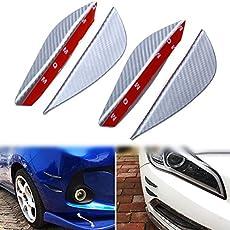 Automaze 4 pc Matte Silver Finish Carbon Fiber Patten Front Bumper Canard, Body Diffuser Fins Splitters, Universal Fit For Any Car (Silver)