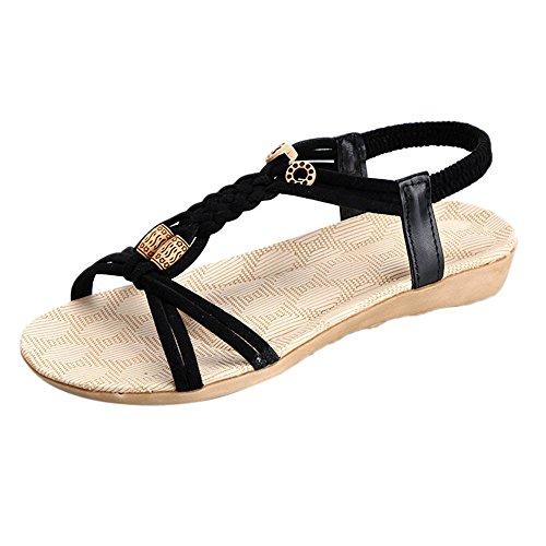 Amcool Bandage Bohemia Sandalen Bunt Mode Damen Flache Schuhe Schwarz
