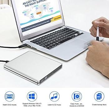 Leshp Externes Cd Dvd Laufwerk, Usb3.0 Dvd-rw Dvdcd Brenner Neu Chip Tragbar Für Laptops Und Desktops Notebook Unterstützt Windows 1087vistaxp, Lunix, Mac Os Macbook Proair 7