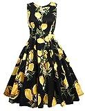 Parabler Damen 50s Vintage Rockabilly Kleid Knielang Festliches Kleid A Linie Ärmlos mit Zitrone Blumenkleid Print Cocktailkleid Ballkleid Elegant Sommerkleid