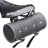 Rolle Werkzeugtasche aus echtem Leder, schwarz Sattel/Lenkertasche