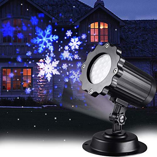 LED Schneeflocke Projektor Licht Weihnachtsbeleuchtung LED Projektor mit Blau White Schneeflocke Lampe Wasserdicht Schneefall Spotlight für Außen und Innen,Partys, Hochzeit, Geburstag
