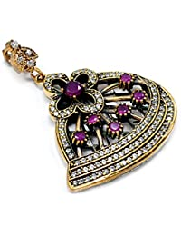 Silvestoo India Ruby & Topaz (Lab) 925 Sterling Silver With Bronze Pendant PG-104562