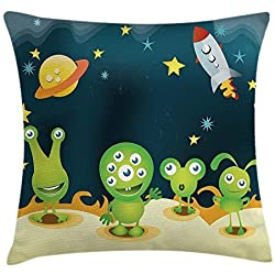 WENEOO LA Aliens On Mars Throw Pillow Covers 18 x 18 Home Decor Living Room Pillow Covers Decorative Cushion Cover Case Housewarming Gifts