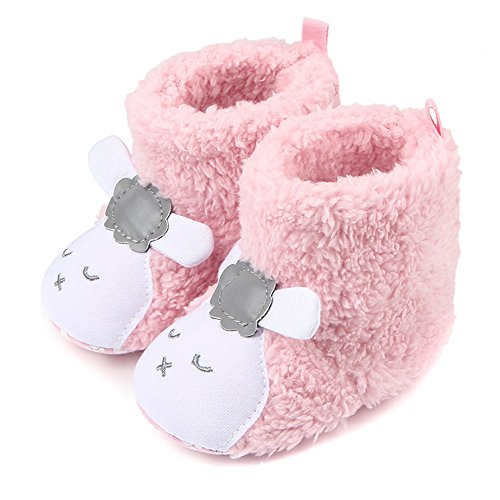Butterme Neugeborenes jungen Mädchen Korallen Vlies Tier Schaf Prewalker Schuhe Winter warme Baby Aufladungs Krippe Schuhe Weiche untere Baby Schuhe ()