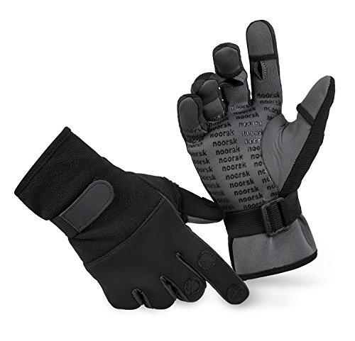 noorsk® Fishing Gloves Anglerhandschuhe Schwarz/Grau XXL