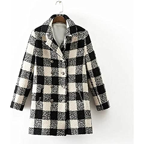 YUYU El doble de pecho peludo de manga larga chaqueta de abrigo del enrejado Mantener caliente , s , picture