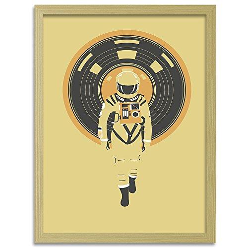 Feeby. Cuadro en marco, Imagen impresión, Pintura decoración, Cuadros de una pieza, Cuadro en lienzo - 1 Parte - 70x100 cm, DJ Hal 9000 - Robert Farkas, ASTRONAUTA, ILUSTRACIÓN, AMARILLO